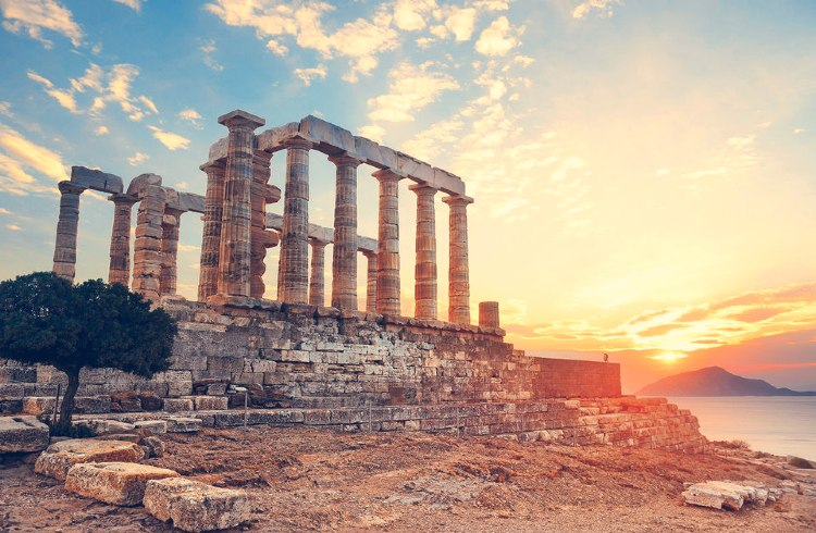 Atardecer en Sunion y el Templo de Poseidón